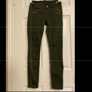 Low rise camo green jeans